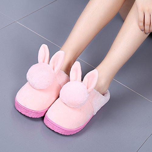 Cotone fankou pantofole donne spesso inverno inverno home home giovane con graziosi antiscivolo trascinare indoor uomo, 250 (36-37) per 35-36 piedi, rosa orecchie di coniglio - femmina