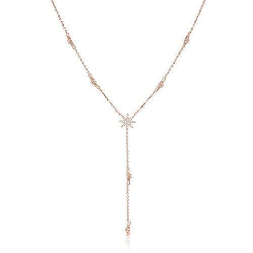 b9f3ff12508 Amazon.com: espere Star Drop Y Shaped Lariat Necklace Plated with 14K Rose  Gold: Jewelry