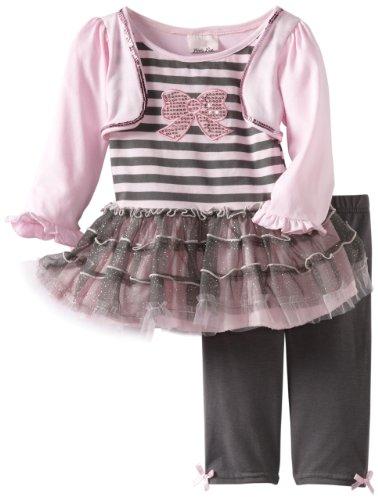 Little Lass Little Girls' 2 Piece Striped Legging Set