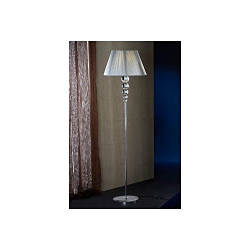 Schuller Spain 661917I4L Modern, Art Deco Chrome Drum Shade Floor Lamp Silver 1 Light Living Room, bed room, Study, Bedroom LED, Chrome Floor lamp with silver shade | ideas4lighting by Schuller