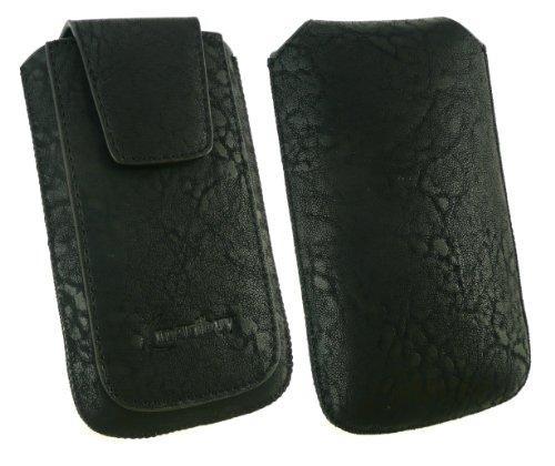 Emartbuy® Nokia Asha 210 Classic Range Negro De Lujo De La Pu De Diapositivas De Cuero En La Bolsa / Caja / Carcasa / Manga / Titular (Tamaño Xl) Con Magnético De La Aleta & Pull Tab Mecanismo Y Prote