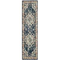 Safavieh Monaco Collection MNC243N Vintage Bohemian Navy and Light Blue Distressed Runner (22 x 6)