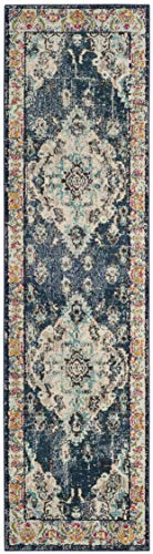 Safavieh Monaco Collection MNC243N Vintage Bohemian Navy and Light Blue Distressed Runner (2'2
