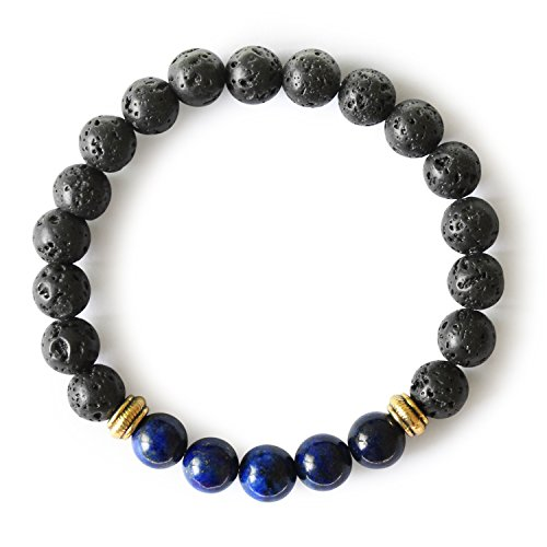 (Me&Hz Neptune Planets Bracelet Women's Lapis Lazuli Royal Blue Chakra Beaded Stretch Bracelet Yoga Healing)