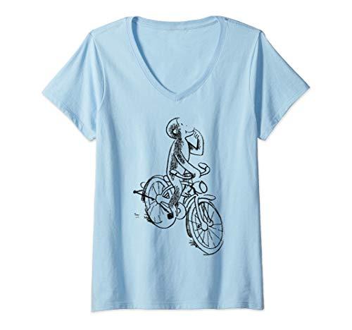 - Womens Curious George Riding A Bike Sketch Portrait V-Neck T-Shirt