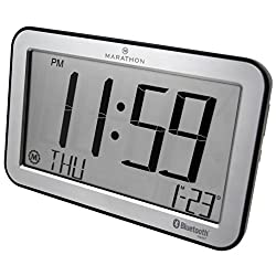 Marathon CL800001SH Bluetooth Panoramic Clock System - Brushed Graphite - Batteries Included (Silver)