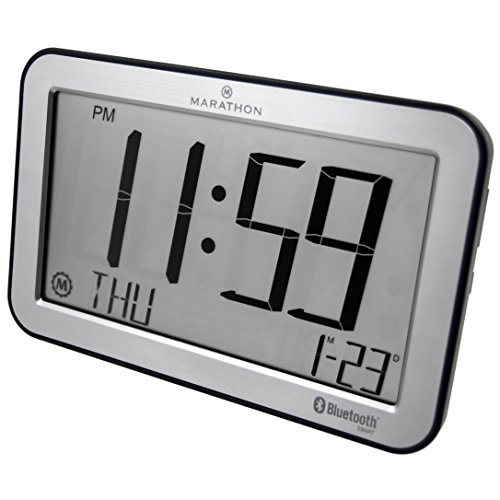 Marathon CL800001SH Bluetooth Panoramic Clock System - Brushed Graphite - Batteries Included - Clock Classroom Digital