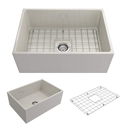 - BOCCHI 1356-014-0120 Contempo Apron Front Fireclay 27 in. Single Bowl Kitchen Sink with Protective Bottom Grid and Strainer in Biscuit,