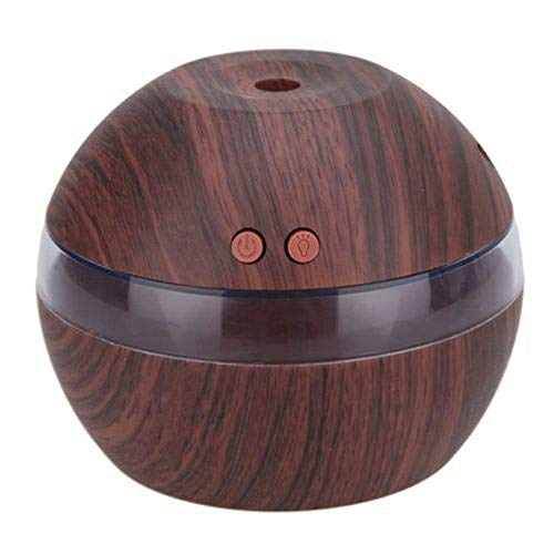 Mini Aromatherapy Home Night Light - Wood Oil Diffuser, Superfine Mist, Essential Oil Diffuser to Relax or Concentrate in Livingroom, Unique Wooden Pattern Humidifier for Office, USB Mist Humidifier for Bedroom light