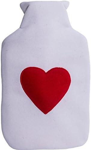 Wärmflasche »Herz« 20·32cm ca. 2 Liter Weißer Überzug Rotes Herz