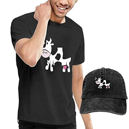 Gili-Boom Cartoon Cow Men's Short Sleeve Crewneck Cotton T-Shirt And Dad Hat Baseball Cap Polo Style For Men's