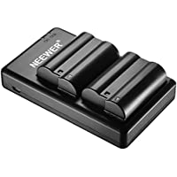 Neewer 2 Pieces 2100mAh Replacement Li-ion Battery for Nikon EN-EL15 and Micro USB Input Dual Charger for Nikon D800 D800E D610 D7000 DSLR Cameras, and MB-D17 MB-D16 MB-D15 MB-D12 MB-D11 Battery Grips