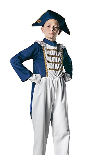 Kids Boys Napoleon Costume French Revolution Outfit Colonial General Dress Up (6-8 years, White/Blue) - Admiral Nelson Halloween Costume