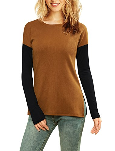 Allegra K Women's Color Block Paneled Ribbed Top Brown XL