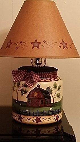 Amazon primitive country decor hand painted farmhouse star primitive country decor hand painted farmhouse star berry large glass table lamp with shade aloadofball Gallery