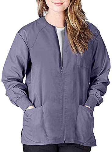 Sidefeel Women Workwear Warm Up Zip Front Medical Scrubs Jacket PK of 10