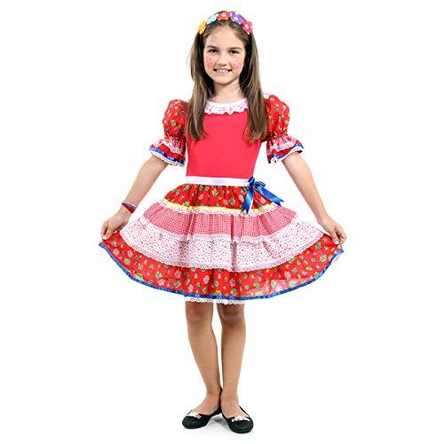 Fantasia Caipira Chic Vermelha Infantil 39188-g Sulamericana Fantasias Vermelho G 10/12