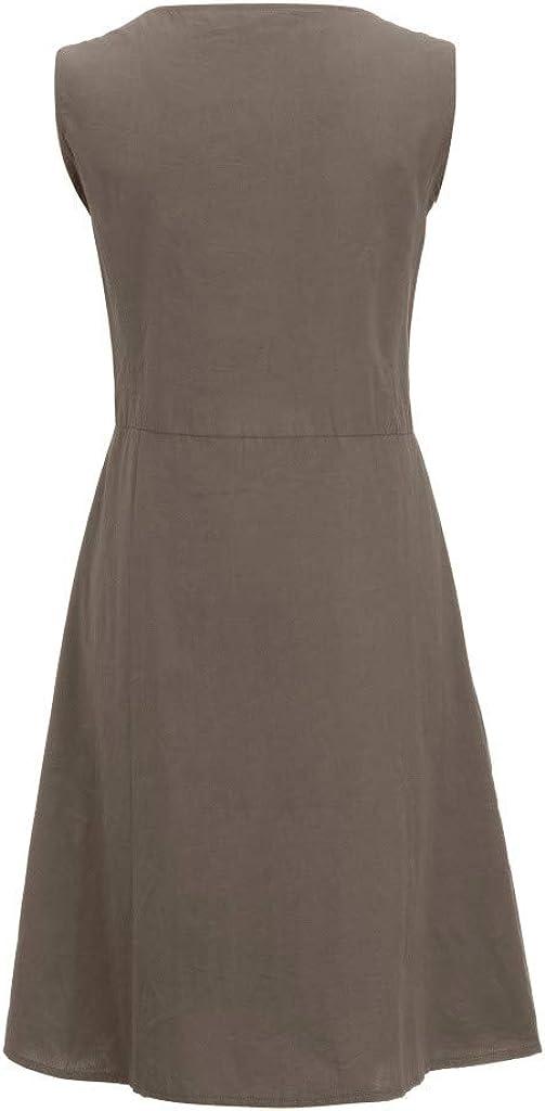 Mlide Womens Summer Linen Cotton Dreess Casual T Shirt Dresses O-Neck Sleeveless Solid Patchwork Hem Irregular Dress