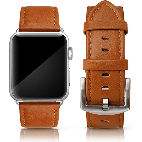 (SWEES Leather Band Compatible for iWatch 42mm 44mm, Genuine Leather Retro Vintage Wristband Compatible iWatch Series 4, Series 3, Series 2, Series 1, Sports & Edition Men, Saddle)