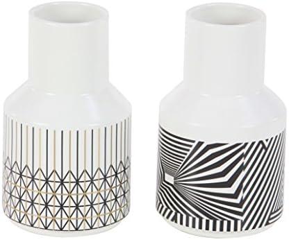 Deco 79 28654 Bottle Vase, White Gold Black