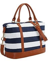 CAMTOP Women Ladies Weekender Travel Bag Canvas Overnight Carry-on Duffel Tote Luggage (Big Stripe - Blue)