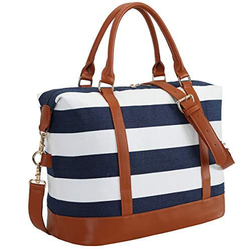 CAMTOP Women Ladies Weekender Travel Bag Canvas Overnight Carry-on Duffel Luggage Tote Bag (Big Stripe - - Bags Totes Luggage Canvas