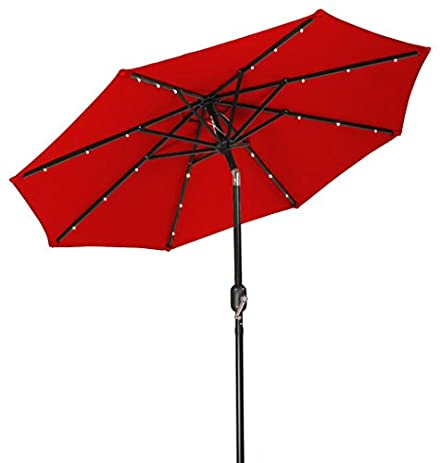 SNAIL 9u0027 Solar Powered LED Patio Umbrella With 32 Lights, Fade Resistant  Garden Table