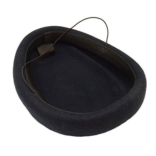 HATsanity Women's Textura de lana Comba Sombrerería Pillbox Azul Marino