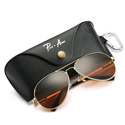 68275b7acfd Aviator Sunglasses for Men Women Polarized Mirrored Lens - UV 400 with Case  Gold Brown