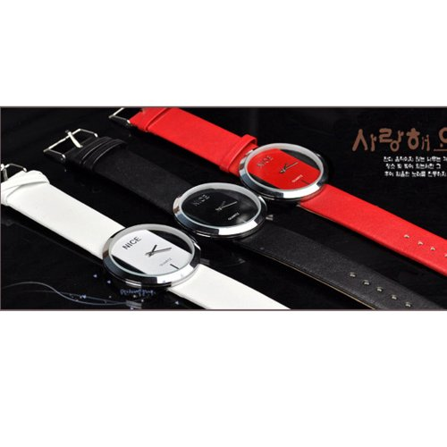 Zeagoo Women's PU Leather Transparent Dial Lady Wrist Watch