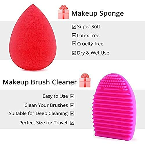 BEAKEY Makeup Brush Set Premium Synthetic Foundation Face Powder Blush Eyeshadow Kabuki Brush Kit, Makeup Brushes with Makeup Sponge and Brush Cleaner (10+2pcs, Black/Silver)