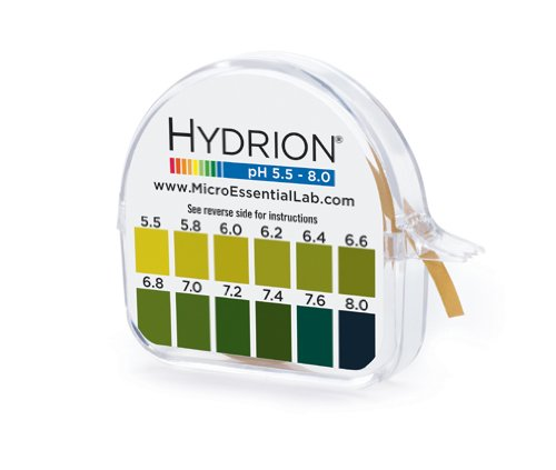 Micro Essential Labs pHydrion Urine and Saliva ph test paper , 15 ft roll with dispenser and chart, ph range 5.5-8.0