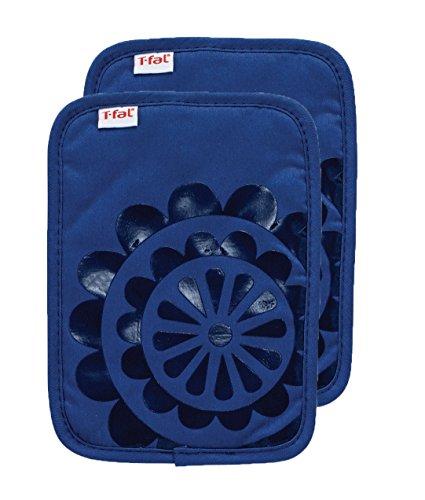 T-fal Textiles 97160 2-Pack Medallion Design 100-Percent Cotton Silicone Pot Holder, Blue