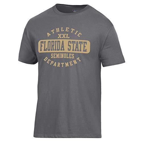 Champion NCAA Florida State Seminoles Men's Ringspun Short Sleeve T-Shirt, Granite Heather, Large