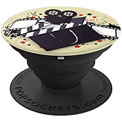 Cinema Film Strip Hollywood Movie Clapboard Monogram - U - PopSockets Grip and Stand for Phones and Tablets