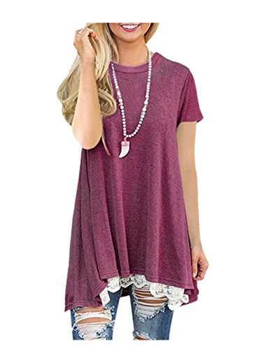 Stitch Detail Jumper - Women Shirt Dress Short Sleeve,Lelili Fashion Lace Patchwork Crewneck Pleat Swing Blouse Tops Sweatshirt (XL, Wine Red)