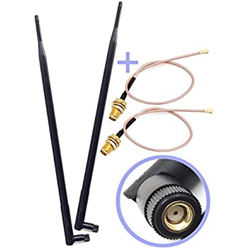 Set of 2 Omni-Directional Wi-Fi Long Range Dual Band 9 Dbi Antenna 2.4/5Ghz 802.11n/b/g and 2 RF U.FL Mini PCI to RP-SMA Female Pigtail Antenna Wi-Fi Cable (Kit for Routers, mini PCIe Cards)