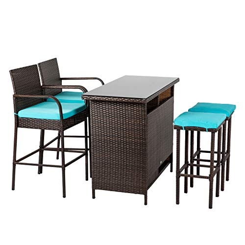 (Kinbor Patio Outdoor Wicker Barstool Set Pool Furniture Patio High Chair (Brown-5 Piece Patio Bar)