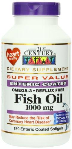 21e siècle huile de poisson 1000 mg gélules entériques Les enrobés, 180 comte