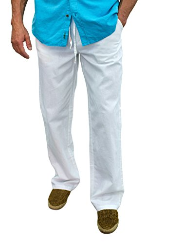 Short Fin L8020 Men's drawatring Linen Pants white34X32 by Short Fin