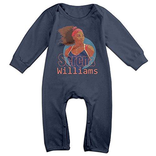 ElishaJ Serena Tennis Williams Babys Long Sleeve Onesies Navy Size 24 Months