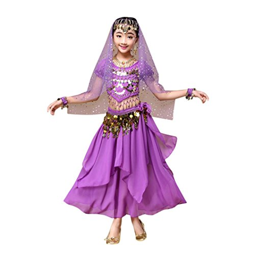 Dance!!!Belly Dance Costume Clothes,Elaco Children Girls Outfit India Dance Clothes Top Skirt (M, Purple)