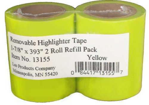 (Lee Products Co. Removable Wide Highlighter Note Tape, 1-7/8 X 393 in, Yellow, Pack of 2 - 13155)