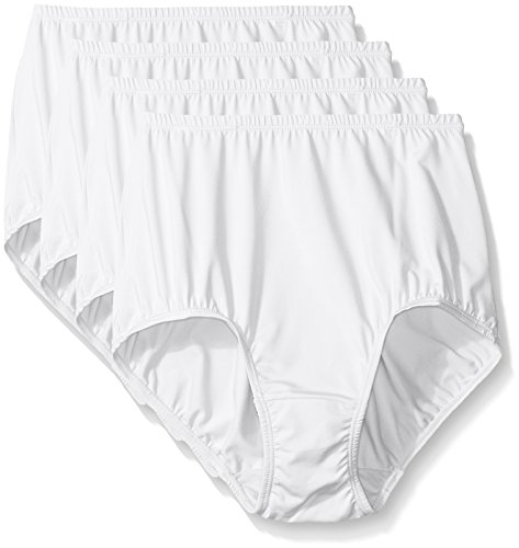 Nylon White Panty Brief (Warner's Women's 4 Pack Without A Stitch Brief, White, 8)