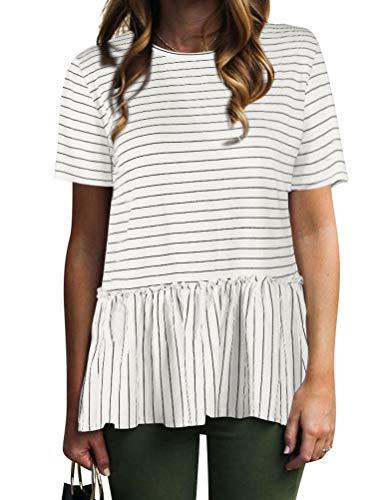 Nlife Women Casual Stripe Blouse Short Sleeve Shirt Tops Tunic Shirt Peplum ()