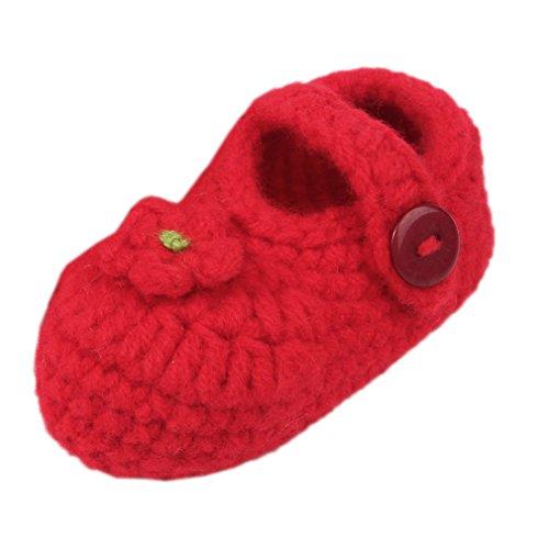 Bigood Strick Schuh Baby Unisex Strickschuh One Size süße Muster 11cm Herz Deko Rot