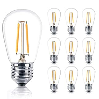 10-Pack Shatterproof LED S14 Replacement Light Bulb - E26/E27 Medium Candelabra Screw Base Edison Bulbs Equivalent to 11W, Fits for Commercial Outdoor Patio Garden Vintage Lights, Warm White