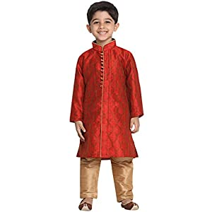 VASTRAMAY Boys' Light Blue Cotton Silk Blend Boys Kurta Pyjama Set
