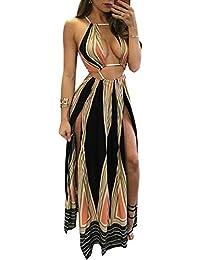 0914f98607680 Women's Boho Floral Halter Summer Beach Party Split Cover Up Dress S-XL