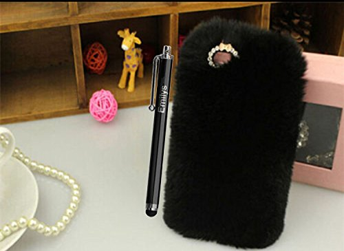 5C Case,Fusicase iphone 5C case,Fusicase fashion style New Rex Rabbit Fur Hair Sleeve Plush Fitted Back case Cover for iphone 5C(Black)